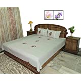 Amita's Home Furnishing Embroided Gray Color Cotton Bed Linen