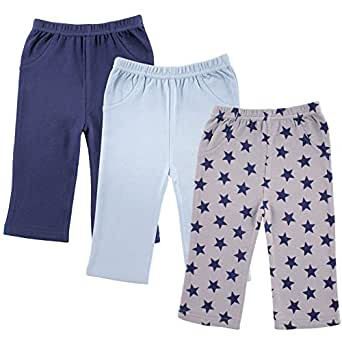 Luvable Friends 3-Pack Printed Pants, Blue Stars, 0-3 Months