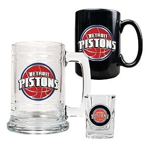 Detroit Pistons NBA 15oz Tankard, 15oz Ceramic Mug & 2oz Shot Glass Set - Primary... by Great American