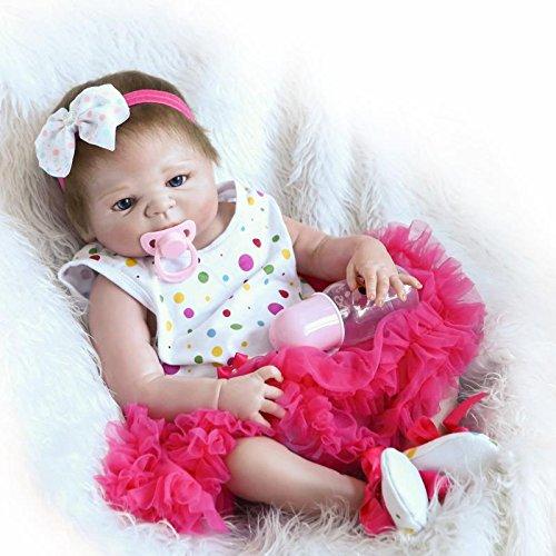 DreamRunner Reborn Baby Doll Vinyl Full Silicone Body 23 inch 57cm Babies Doll Lifelike Little Girl Doll Women Nursing Treats Shooting Props