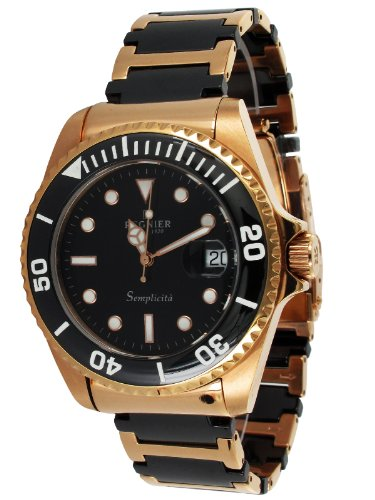 Régnier Semplicita R1315 Men's Golden Stainless Steel And Black Ceramic Strap Dateur Watch 2030142