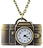 Godagoda Antique Bronze Color Round Camera Shape Quartz Pocket Watch