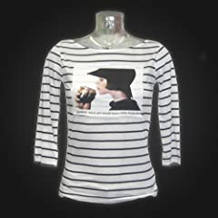 Guinness Black White Stripe Lady Drinking Tee
