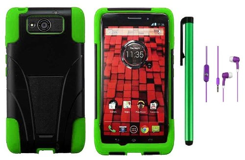 #!  Motorola DROID ULTRA MAXX XT1080M / Motorola Obake (Verizon) Accessory - Premium Stand Protector Hard Cover Case + 3.5MM Stereo Earphones + 1 of New Metal Stylus Touch Screen Pen (Green / Black)