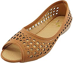 Am By Penny Womens Tan Faux Leather Bellies (4.5 UK)