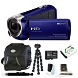 Sony HDR-CX240 HDRCX240L HDRCX240/L Full HD Handycam Camcorder (Blue) with Sony 16GB Class 10 Micro SDHC R40 Memory Card + Focus Deluxe SLR Soft Photo and Video Medium Case + NP-BX1 Wasabi Power Battery + and Accessory Kit