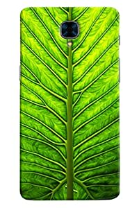 Omnam Green Leaf Pattern Printed Designer Back Cover Case For OnePlus Three