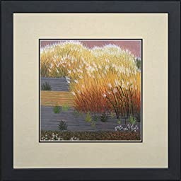 King Silk Art 100% Handmade Embroidery Mixed Group Feng Shui Autumn Golden Rushes Grass Land in Wind Chinese Japanese Print Framed Landscape Painting Gift Oriental Asian Wall Art Décor Artwork Hanging Picture Gallery 37046WFG