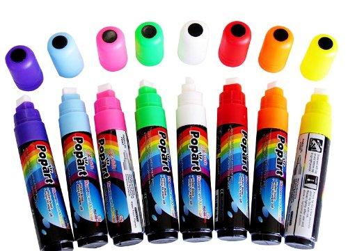 8 Neon Color Led Blackboard Board Fluorescent Marker Liquid Pen Chalk Set Pack