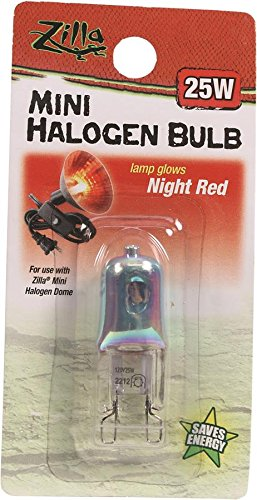 Zilla Reptile Terrarium Heat Lamps Mini Halogen Bulb, Night Red, 25W (Filament Bulb 25w compare prices)