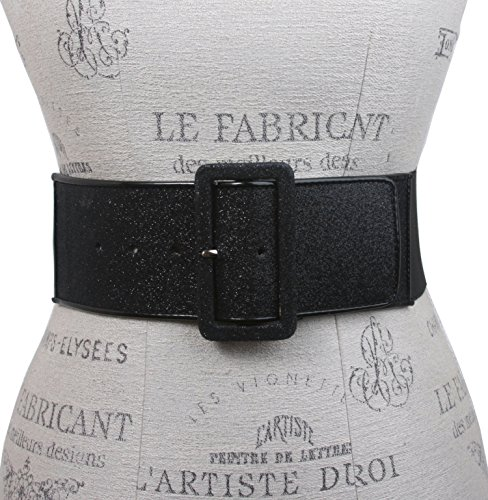 """Ladies High Waist Patent Leather Piping Edged Glittering Fashion Stretch Belt Size: M/L 30-36"""" Color: Black"""