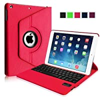Fintie Apple iPad Air Case - 360 Degree Rotating Detachable Bluetooth Keyboard Case Cover with Auto Sleep / Wake Feature for iPad Air / iPad 5 (5th Generation) - Magenta by Fintie