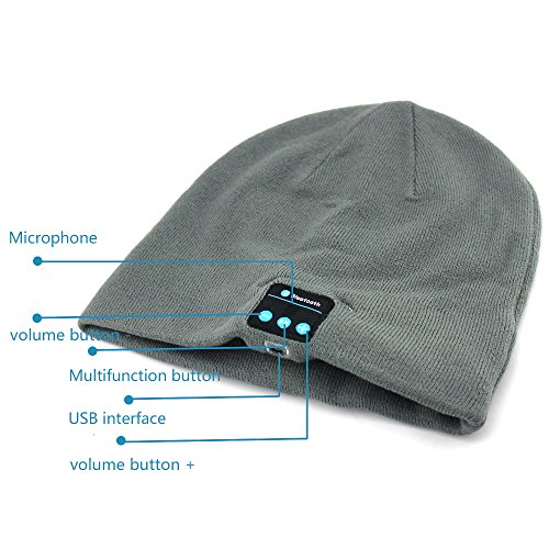Lp 2 in 1:boonie Hat with Wireless Bluetooth Headphones,the Most Fashionable & Functional Outdoor/ridding/running,warm & Casual,for IOS & Android Devices,iphone 6,5s,5c & Samsung Galaxy(grey)