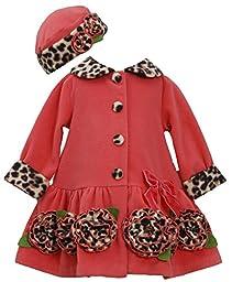 Bonnie Baby Baby-Girls Newborn Leopard Fleece Coat and Hat Set, Coral, 3-6 Months