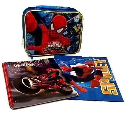 Spiderman New Marvel Ultimate Spider-man Insulated Lunch Bag Pocket Folder & Spiral Notebook Elementary Junior High Backpack Middle 2 piece