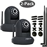 Foscam FI8910W 2-Pack Bundle (Black) with 9dbi Antennas and 7-Piece Adjustable Bracket