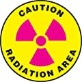 "Accuform Signs MFS0608 Slip-Gard Adhesive Vinyl Round Floor Sign, Legend ""CAUTION RADIATION AREA"" with Graphic, 8"" Diameter, Magenta/Black on Yellow"