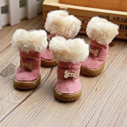 Colorfulhouse® Cute Bone Pet Snow Boots Nonslip Winter Dog Boots 4 Pcs