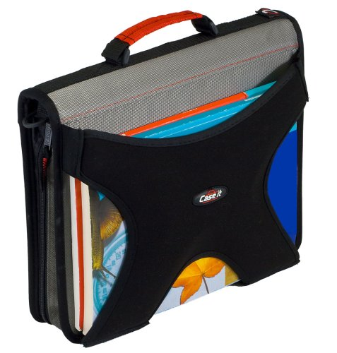 Case-it W350 X-Hugger Zipper Binder, 2-Inch Round Ring Binder with Book Holder on Front, Black, Size - 13 x 12 x 3 Inch (W-350-GRY)