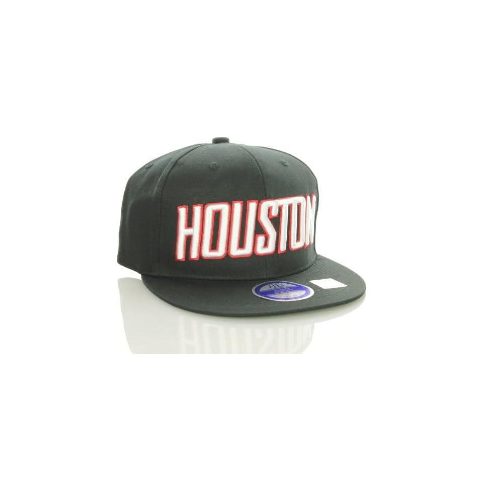 Houston Flat Bill Vintage Style Snapback Hat Cap Black at  Men's Clothing store