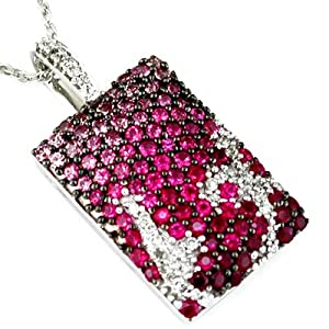 14 White Gold Diamond and Pink Sapphire And Ruby Necklace
