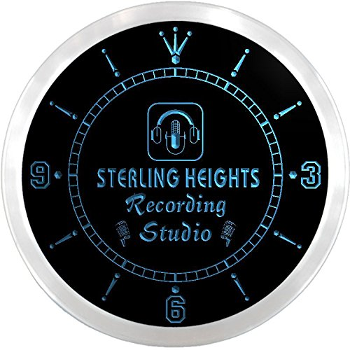 Ncqm2240-B Sterling Heights Recording Studio On Air Microphone Bar Beer Led Neon Sign Wall Clock