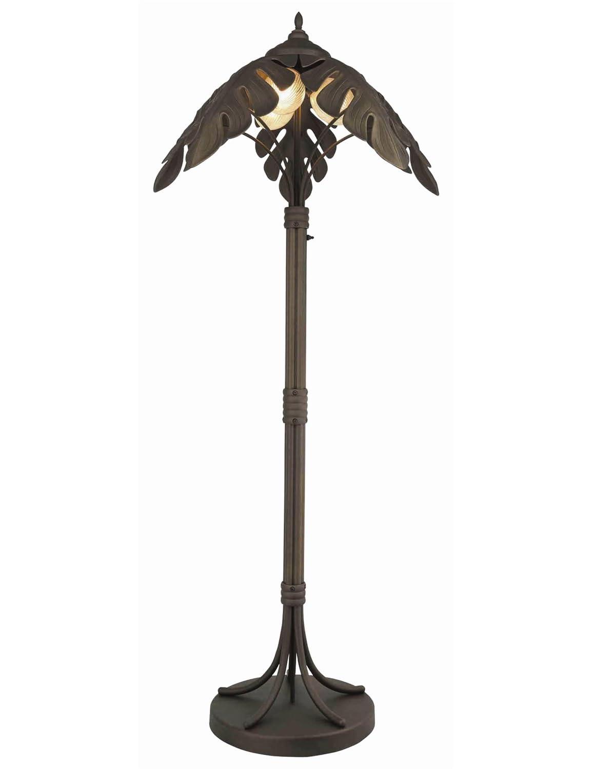 Cast iron outdoor palm tree lamp post light floor lamp for Landscape lighting lamps