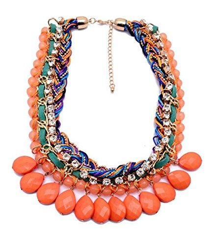 twopages-rhinestone-braided-layered-organge-coloured-plaited-bead-statement-necklace-jewelry-gift-fo