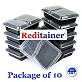 Reditainer® - 2 Compartment Microwave Safe Food Container with Lid/Divided Plate/Lunch Tray with Cover, 10 Pack