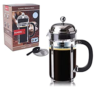 TANERS 8-cup French Press Coffee Maker & Tea Maker , 1 Liter 34oz, BONUS Extra Dual Layer Filter & Scoop & Elegant Gift Box by Sennoone