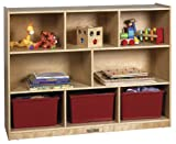 "ECR4Kids Birch 8 Compartment Storage Cabinet, 36""H, Natural"