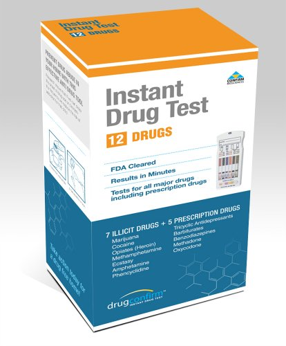 DrugConfirm 12 Panel Instant Urine Drug Test Kit - FDA Approved - AMP/BAR/BZO/COC/mAMP/MDMA/MTD/OPI/OXY/PCP/TCA/THC (Oxy Codeine compare prices)