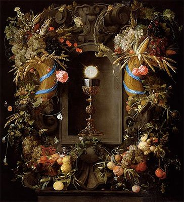 de Heem (Communion Cup and Host, Encircled with a Garland of Fruit, 1655) Canvas Print Reproduction (21.7x19.6 in) (55x49.9 cm)