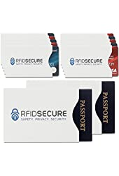 RFID Blocking Sleeves (10 Credit Card & 2 Passport Protectors) Top Identity Theft Protection Travel Case Set. Smart Holders Fit Wallet, Purse & Cell Phones (Men & Women). Shields Radio Frequency ID.