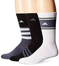 adidas Men\'s Cushioned Assorted Color 3-Pack Crew Socks, Black/Onix/White, Large