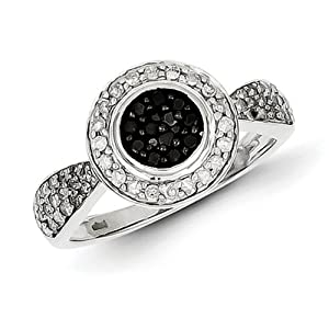 IceCarats Designer Jewelry Size 7 Sterling Silver Black And White Diamond Round Frame Ring