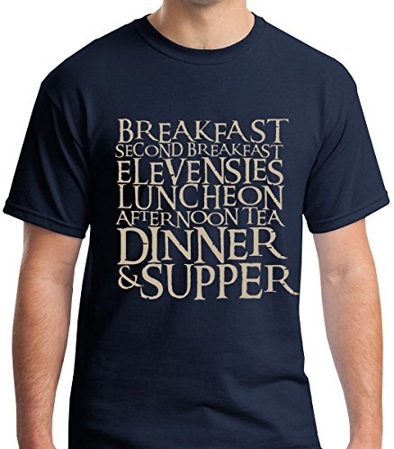 Raw T-Shirt's 7 Hobbit Meals - Breakfast, Second Breakfast, Elevenses Premium Men's T-Shirt Geek Fantasy Gift for Adults