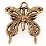 5 Bronze Plated Butterfly Charm Pendants 26x23mm
