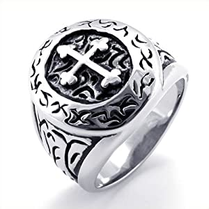 KONOV Jewelry Vintage Stainless Steel Band Cross Ring - Silver (Available in Sizes 7 - 13) - Size 8 (with Gift Bag)