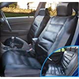 Luxury Leather Look Car Seat Cover Set - All Black - Universal Fitting
