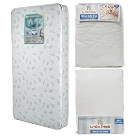 Lajobi Lil Bundle Mattress, Crib Sheet and Waterprrof Pad: Baby