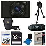 Sony DSC-RX100 20.2 MP Exmor CMOS Sensor Digital Camera with 3.6x Zoom BUNDLE with 32GB High Speed Class 10 SD Card, Spare Battery, Deluxe Case, Card Reader, Mini Tripod, LCD Screen protectors and MORE!