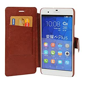 Honor 6 Plus Case, HOKO® Slim pu Flip Cover wallet book style Flip Case cover for Huawei Honor 6 Plus (Brown)