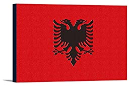 Albania Country Flag - Letterpress (36x24 Gallery Wrapped Stretched Canvas)