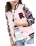 [ゼンアン]ZENAN スタジャン 女の子 子供 キッズ 花柄 ロゴ 派手かわいい ジャケット ピンク 130