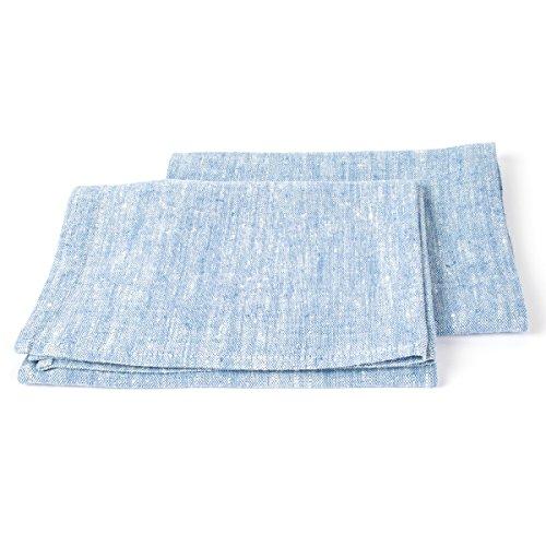 LinenMe 45 x 70 cm set di 2 asciugamani, uno per le mani e uno per gli ospiti Francesca, blu