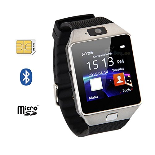 Smart Phone Watch With MicroSIM Slot Music Camera Bluetooth Fitness Watch Mate for Samsung Galaxy HTC Nexus Android Smartphones(Silver)