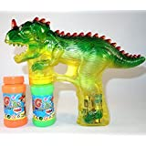Haktoys 1900D Dinosaur Bubble Shooter Gun with LED Lights and Dinosaur Sound, 3 x AA Batteries, and Extra Bottle Refill