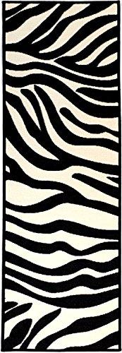 Pink Collection White, Black Animal Print Zebra Design Modern Runner Rug With Non-Skid (Non-Slip) Rubber Backing Runner Kids Rug (20