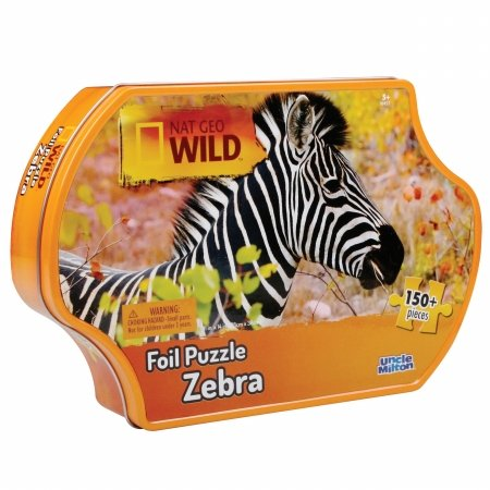 Uncle Milton 16457 Uncle Milton - Nat Geo Wild, Foil Puzzle with Tin - Zebra - 1